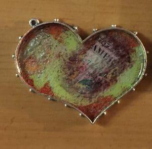 ©2015, Mary Ellen Merrigan, Heart bezel with resin
