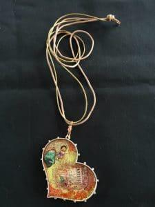 ©2015, Mary Ellen Merrigan, Heart Gift Resin necklace