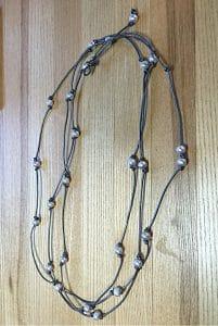 ©2015, Mary Ellen Merrigan,knotty pearls with self close loop