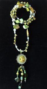 ©2015, Mary Ellen Merrigan, pearls with resin face bezel