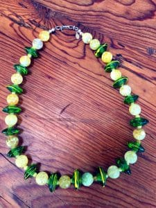featured artist beaded necklace - green etched glass