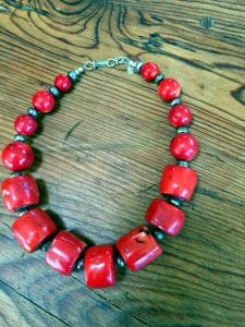 featured artist beaded necklace - red coral