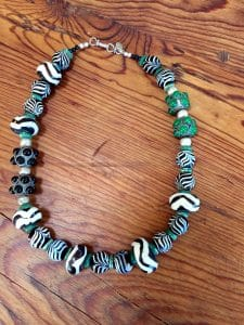 featured artist beaded necklace-zebra stripes and green accents