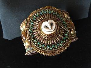Bead embroidery cuff jewelry_lil hoot owl