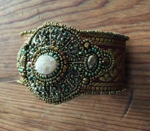 This is the bead embroidery cuff you will create in class with Mary Ellen Beads.