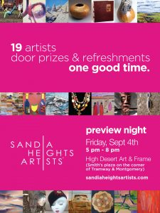 Join the Sandia Heights ARtists Studio Tour Preview night at High Desert ARt and Frame.
