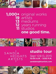 This is a poster about the Sandia Heights Artists Studio Tour.