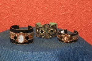 ©2015, Mary Ellen Merrigan, Bead Embroidered Cuffs at Amapola Gallery