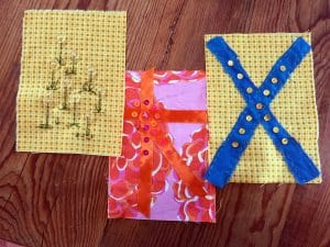 These three rectangles will make original greeting cards.