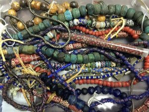 This is the treasure box of beads from which Mary Ellen Merrigan created Treasure Necklaces for her class at Elinor's Art & Beads.
