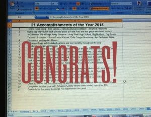 This is a list of accomplishments testing my creative edge in 2015 by Mary Ellen Beads Albuquerque.