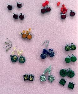 ©2016, Mary Ellen Merrigan, Ice Resin earringsin process