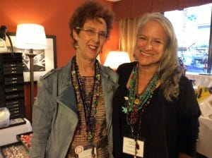 Mary Ellen Merrigan wears her crocheted necklace with Rose Mary Jameson, creator of Laguna Crocheted Necklace.
