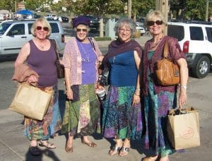 Artist Rose Mary Jameson and friends model the twirly batik skirt.