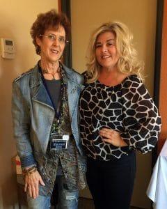 Mary Ellen Merrigan is pictured with Artist Julianna C. Avelar, inventor of the Jewel Loom