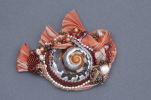 This shibori silk focal by Mary Ellen Merrigan of Mary Ellen Beads will be on display at Amapola Gallery in June 2016.