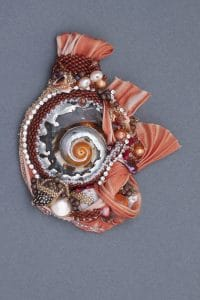 This nautilus silk beadweaving by Mary Ellen Merrigan of Mary Ellen Beads will be on display at Amapola Gallery in June 2016.