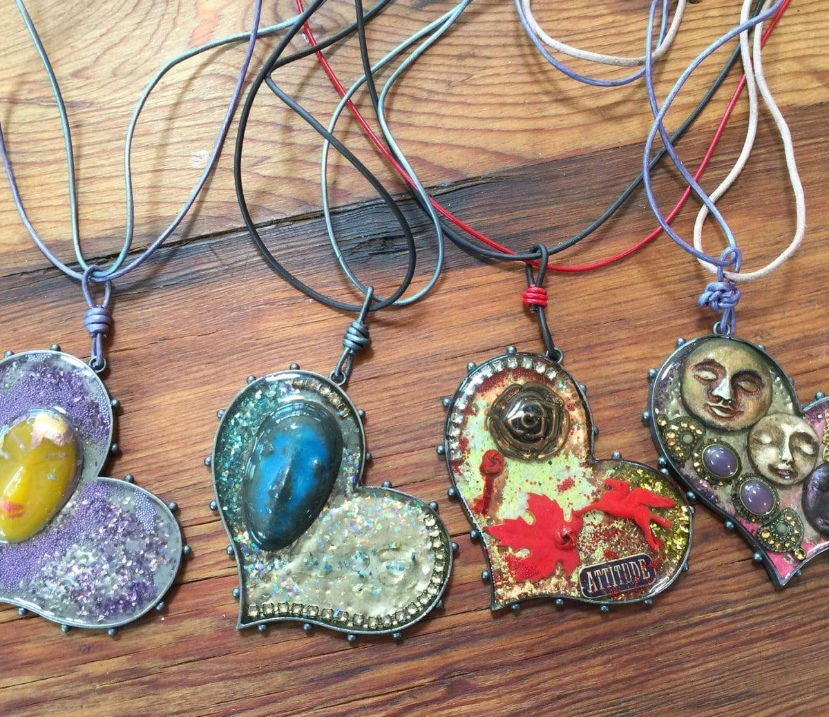 These Faces Showcase The Leather Jewelry And Ice Resin Of Mary Ellen Beads Albuquerque