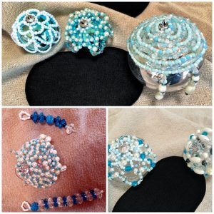 These beaded ornaments are the Roadtrip Beading work of Mary Ellen Beads Albuquerque.