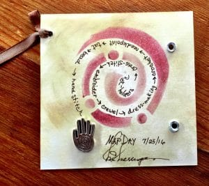 This card depicts the creative cartography done by Mary Ellen Beads Albuquerque for a mixed media project of the month.