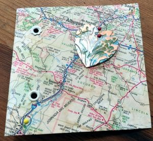 This map card illustrates the mixed media project of the month for Mary Ellen Beads Albuquerque and the Collaborheartists.