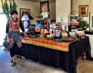 The bead jewelry of Mary Ellen Merrigan was on display next to work from Cindy Chavez