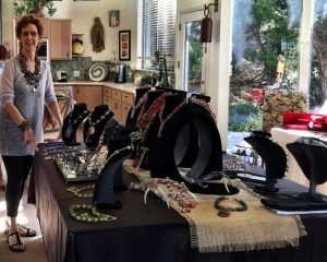 This is the bead jewelry display for Mary Ellen Beads Albuquerque at the Sandia Heights Artists Studio Tour.