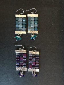 These bead loom earrings are part of the bead bling for holiday collection from Mary Ellen Beads Albuquerque.