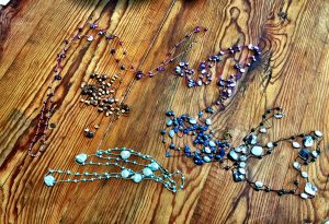 Bead jewelry of knotted pearls are 'Barely There' according to Mary Ellen Merrigan of Mary Ellen Beads.