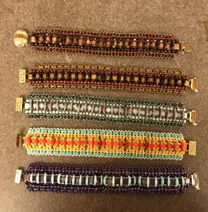 These six bracelets are samples of the Over the Moon Bracelet by Artist Marcia Balonis who talked with Mary Ellen Merrigan of Mary Ellen Beads Albuquerque.