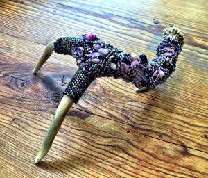 Purple Mountain Majesty is the art work of Mary Ellen Merrigan of Mary Ellen Beads, Albuquerque.