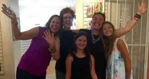 This is a picture of Diana Corbin, Mary Ellen Merrigan, Maria Salomao-Schmidt and her two daughters at Amapola Gallery for Mary Ellen Beads Albuquerque.