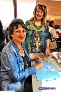 This is a picture of Mary Ann Cordova and Marcia Balonis at the New Mexico Bead Society Workshop attended by Mary Ellen Beads Albuquerque.