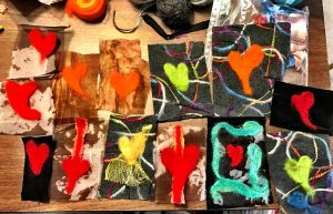 This grouping of hearts illustrates the needle-felting of Mary Ellen Beads Albuquerque.