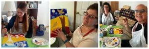 This collage includes candid shots from the Bird Tree Love Paint Party sponsored by Mary Ellen Beads Albuquerque.