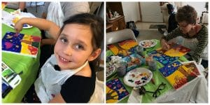These pictures reflect the fun participants experienced during the Bird Tree Love Paint Party led by Mary Ellen Beads Albuquerque.