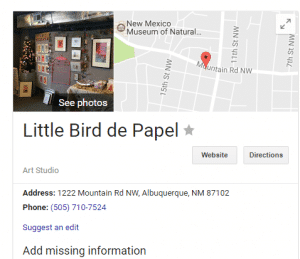 Mary Ellen Beads Albuquerque looks for signs of visibility, illustrated by this Little Bird de Papel map on Google My Business.