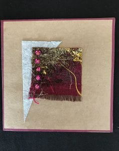 This experiment by Mary Ellen Beads Albuquerque shows Angeliana fibers fused with sequins and beads.