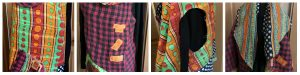 This collage from Mary Ellen Beads Albuquerque shows the different ways this reversible Kantha quilt vest can be worn.