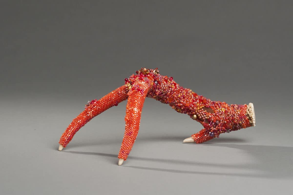 These embellished antlers are a juried entry to Fiber Arts Fiesta by Mary Ellen Merrigan of Mary Ellen Beads Albuquerque.