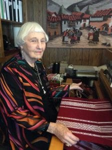 Weaving artist Ruth Ronan taked with Mary Ellen Beads Albuquerque about weaving a shawl from a painted skein converted to a painted warp.