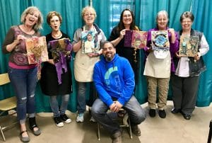 These participants were part of Lazaro Iglesias' Mixed Media Class at Fiber Arts Fiesta 2017, as recorded by Mary Ellen Beads, Albuquerque.