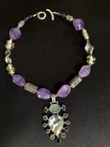 Amethyst Beauty is one of the necklaces from Mary Ellen Beads Albuquerque on display in the Sandia Heights Artists Studio Tour 2017.