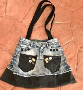 This denim tote by Mary Ellen Beads Albuquerque is typical of the inspiration for the Sandia Heights Studio Tour 2017.