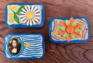 Here are three more upcycled bead mosaic boxes from Mary Ellen Beads Albuquerque,