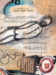 This Good Night Nurse collage by Maker Jen Cushman is typical of the creativity she discusses with Mary Ellen Beads Albuquerque.