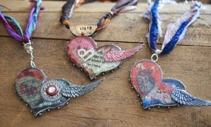 These three gypsy hearts are by maker Jen Cushman who talked with Mary Ellen Beads about creativity.