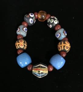 This trade inspired stretchy bracelet is part of the Holiday Wonders Jewelry Show by Mary Ellen Beads Albuquerque.