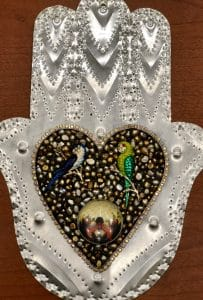 This heart and hand class project is by Kenny H. during a class from Mary Ellen Beads, Albuquerque.
