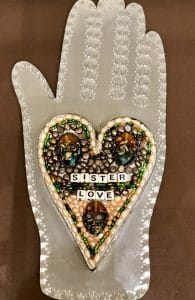 This is heart and hand class project is by Julie F. during a class from Mary Ellen Beads Albuquerque.